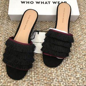 Who What Wear Brea Black Fringe Sandals NIB
